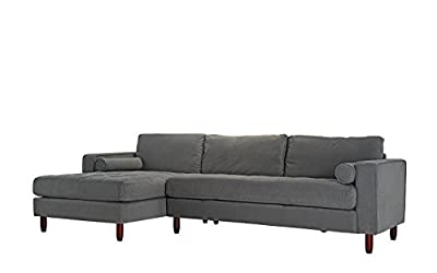Mid-Century Modern Tufted Velvet Sectional Sofa, L-Shape Couch with Extra Wide Chaise Lounge