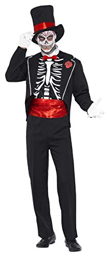 Smiffys Men's Day of the Dead Costume, Jacket, Mock Shirt Front, Hat and Gloves, Day of the Dead, Halloween, Size L, -