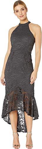 Dress Lace Flounce (Marina Women's Glitter Lace Halter-Neck Dress with High-Low Flounce Gun 16)