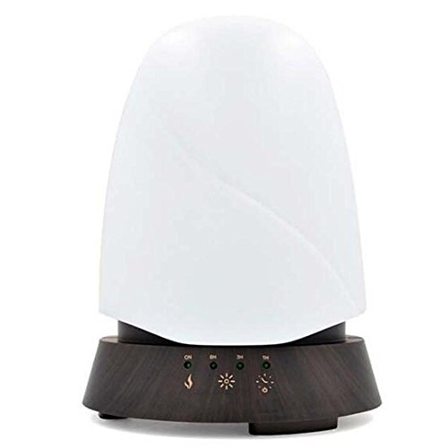 JIAYUE Aroma Essential Oil Diffuser YM-02 350ml Ultrasonic Mute Humidifier Aromatherapy Diffuser LED Color Night Light Intelligent Power Off Timer Function Table Lamp Shape, White, 15x15x20cm