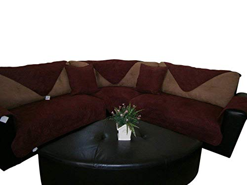 Bonded Micro Suede Quilted Sectional Deep Seats Sofa Slipcover Pad Furniture Protector Sold By Piece Rather Than Set (Wine/Burgundy, 35x82
