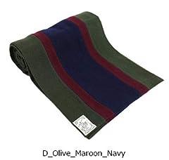 Wool Scarf: Olive / Maroon / Navy