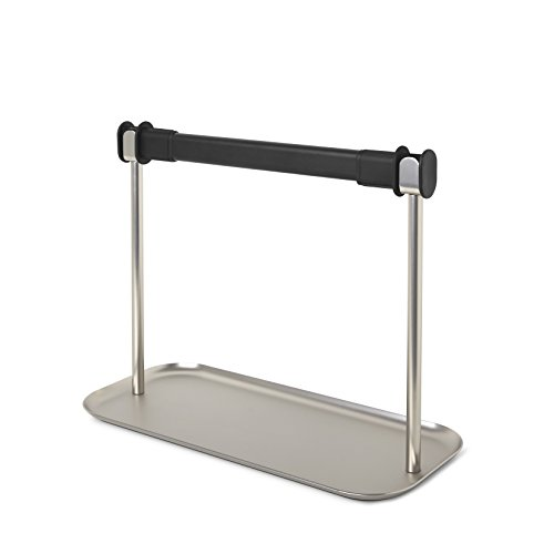 (Umbra Limbo Holder with Storage Tray, Easy One Handed Tear, Free Standing Paper Towel Dispenser, Black/Nickel)