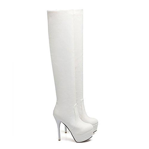 Aiguille Avec Fourrure Pour Talons Haut Chaussures mollet À Blanc Bottes En Femmes Mode L'hiver Mi Et Uh Sexy Plateforme vWPcz
