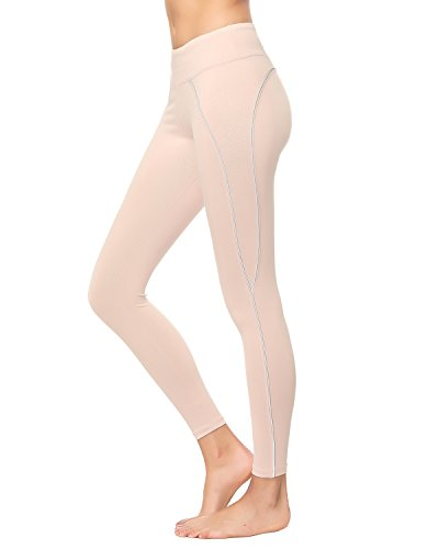 X-HERR Womens Compression Workout Yoga Leggings Power Flex Exercise Fitness Yoga Pant with High Waist Pockets (Small, Sporty Chic Line/Pink)