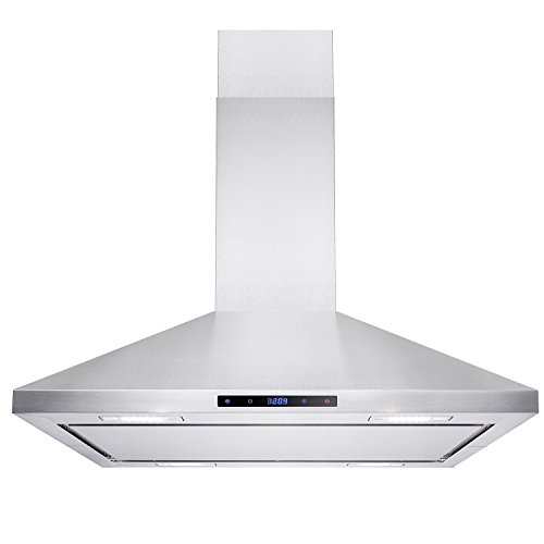 "AKDY Island Mount Range Hood -36"" Stainless-Steel Hood Fan for Kitchen - 3-Speed Professional Quiet Motor - Premium Touch Control Panel - Minimalist Design - Mesh Filters & LED Lights"