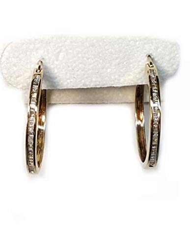 Diamond Hoop Earrings with Channel Set Baguettes. 50pts. t.w.in 14kt Gold