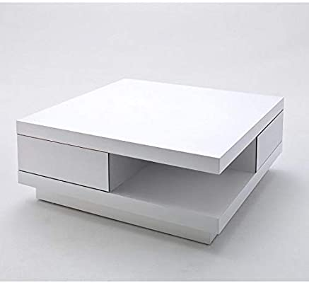 Inside Table Basse Carree Albi Finition Laquee Blanc Brillant 2 Tiroirs Amazon Fr Cuisine Maison