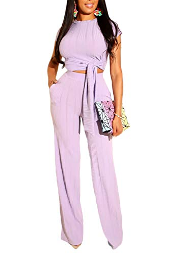 - Ophestin Womens Sexy Two Piece Outfits Short Sleeve Rib Belted Crop Top Wide Leg Pants Set Party Jumpsuits Purple XL