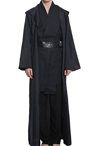 (Cosplaysky Men Halloween Costume Tunic Hooded Robe Outfit Black Version)