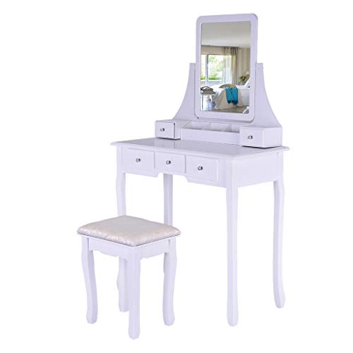 Cgeolhni Vanity Set with Mirror & Cushioned Stool Dressing Table Vanity Makeup Table 5 Drawers Movable Organizers Szie 80 x 40 x 136cm (White)