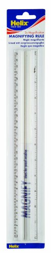 (Helix L30 300mm Clear Plastic Magnifying Ruler With 2x Magnification,)