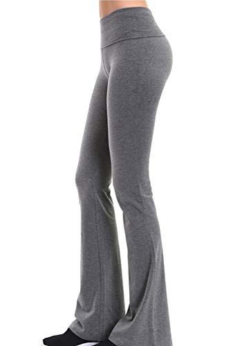 ClothingAve. Womens Foldover Contrast Waist Bootleg Flare Yoga Pants with Value Pack Options (S-3X)