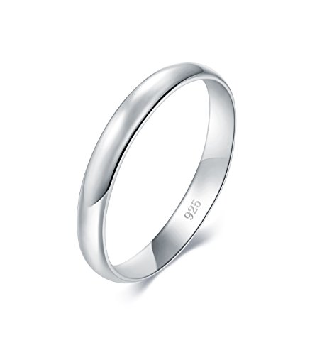 (BORUO 925 Sterling Silver Ring, High Polish Plain Dome Tarnish Resistant Comfort Fit Wedding Band 3mm Ring Size 7)