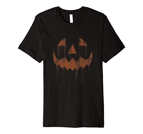 Scary Jack O'Lantern Halloween Horror Pumpkin Face  Premium T-Shirt