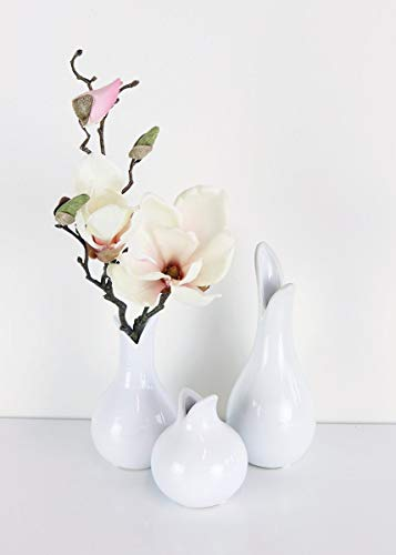 Girl Vase Bud - Floral Home Set of 3 White Tulip Ceramic Bud Vases - 4-8