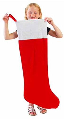 One Red & White Jumbo Oversized Felt Christmas Stocking - 38