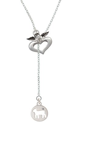 Silvertone Lamb Silhouette - Guardian Angel Lariat Necklace, 18