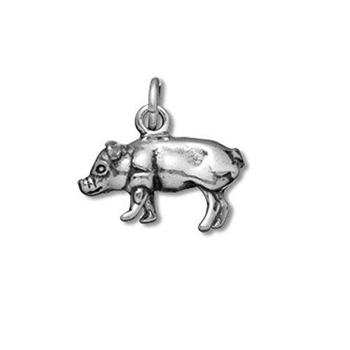 Sterling Silver 3D Pig Farm Animal Charm Item #9432