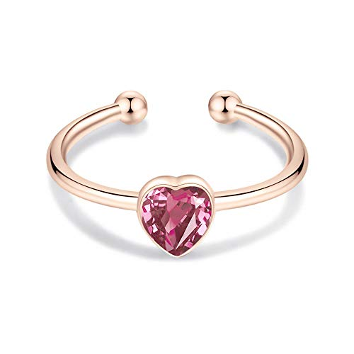 AOBOCO 14K White Gold Plated Silver Wrap Open Rings for Women with Swarovski 3D Heart Shaped Crystal, Simple Mother Daughter Crystal Silver Ring for Daily Wearing (Pink)