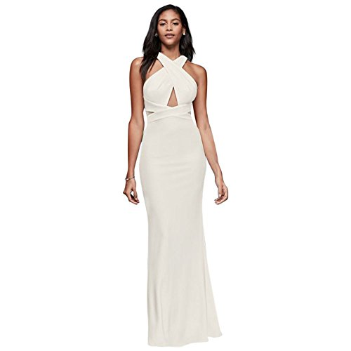 Jersey Ottomon Crisscross Halter Wedding Dress Style 865977, Ivory, 2