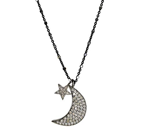 (Diamond Moon Star Necklace - Genuine diamonds- Sterling Silver - 18