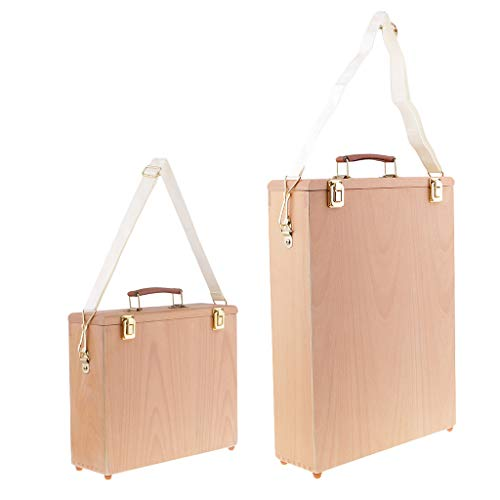 Canvas Boards Box - SM SunniMix 2pcs Artists Painters Wood Oil Paintings Canvas Board Panels Carrier Carrying Case Filled with Paints, Pallet, Brushes, Pens, Accessories and Tools
