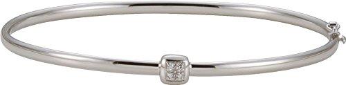 - 14K White Gold Diamond Bangle Bracelet .03 CTTW