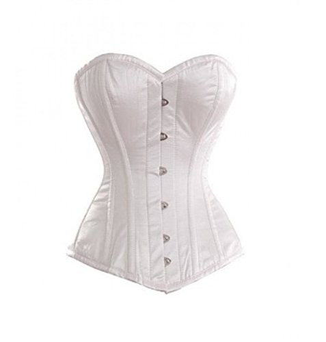 決済乳評議会White Satin Goth Burlesque Bustier Waist Training Basque Overbust Corset Costume