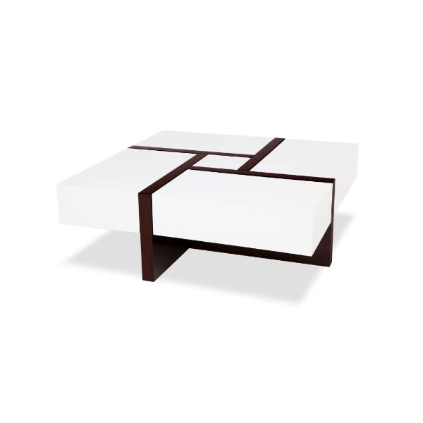 Surprising Zuri Furniture Mcintosh High Gloss Coffee Table With Storage White Square Short Links Chair Design For Home Short Linksinfo