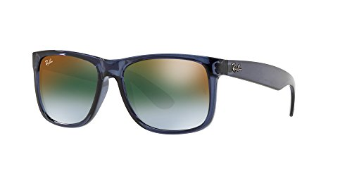 Ray-Ban Men's Nylon Man Non-Polarized Iridium Rectangular Sunglasses, Trasparent Blue, 53 - For Men Sunglasses Coolest