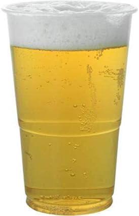 Vasos de cerveza desechables de plástico transparente de 1/2 pinta, 100 unidades, ideales para cualquier fiesta, todo tipo de eventos y celebraciones