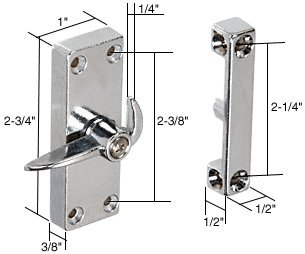 "C.R. LAURENCE A103 CRL Chrome Sliding Screen Door Latch and Strike With 2-1/4"" Screw Holes"