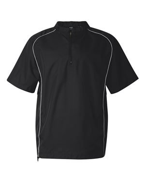 - Rawlings Adult Quarter-Zip Short Sleeve Dobby Jacket With Piping (Black) (2X)
