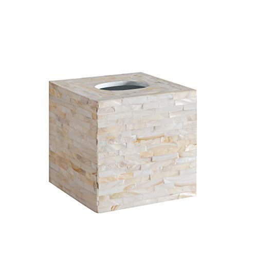 Tissue Classic Holder - Abington Lane Mother of Pearl Square Tissue Box - Decorative Tissue Holder Cover Great for Countertops, Night Stands, Dressers, Desk Tables, Bathroom Accessories (Classic Ivory)