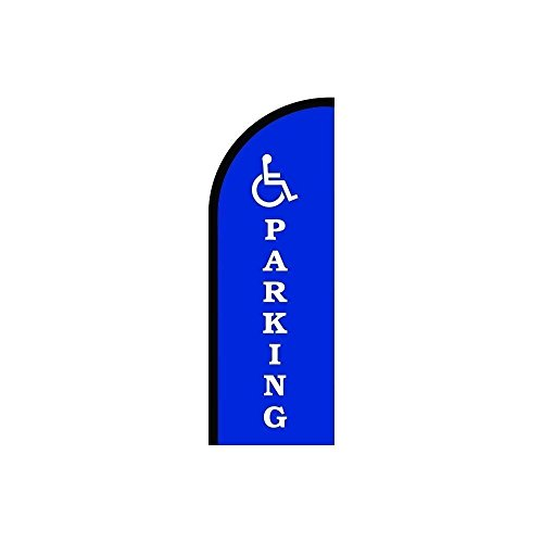 Cheap Handicap Parking Logo Sign Feather Flag, Swooper Advertising Flags, Flutter Banner - Pre Printed Flag Only (7.8' Feet) for cheap