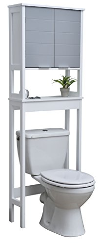 EVIDECO 9904208 Bathroom Over The Toilet Space Saver Cabinet-Modern D-White and Grey