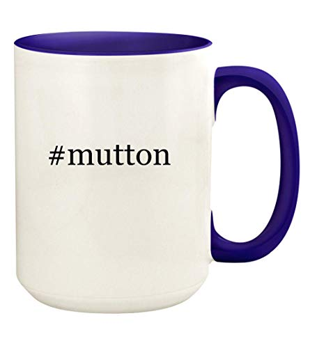 #mutton - 15oz Hashtag Ceramic Colored Handle and Inside Coffee Mug Cup, Deep Purple
