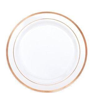 Amscan Premium Plastic Plates | White w/ Gold Trim | 7.5'' | Party Supply | 120 ct.