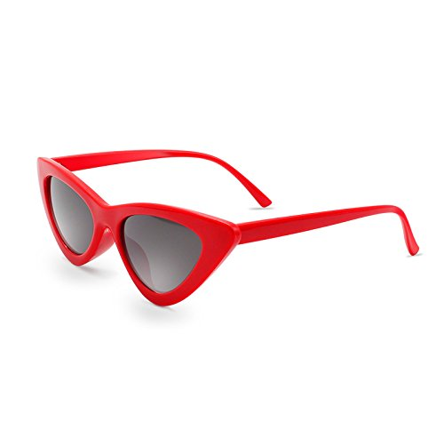 Plastic Cat Eye Sunglasses (Livhò Retro Vintage Narrow Cat Eye Sunglasses for Women Clout Goggles Plastic Frame)