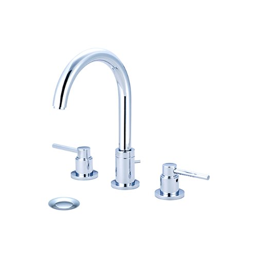 Pvd Brass Lav Drain - Pioneer 3MT400 Two Handle Lavatory Widespread Faucet, PVD Polished Chrome Finish