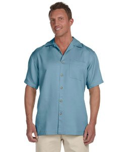 Harriton Men's Bahama Cord Camp Shirt -Cloud Blue