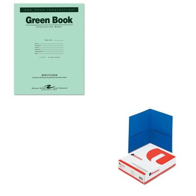 KITROA77509UNV56601 - Value Kit - Roaring Spring Green Books Exam Books (ROA77509) and Universal Two-Pocket Portfolio (UNV56601) by Roaring Spring
