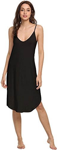 - NEIWAI Womens Full Slip Spaghetti Strap Chemise Nightgown Cami Dress Black 3X