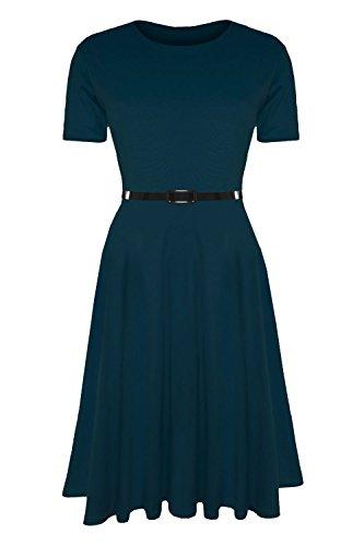 Damen Skater Kleid EInfarbig mit Gürtel Angeschnittene Ärmel Mittellang Swing Midi Kleid Übergrößen - Übergröße (EU 56/58), Petrol