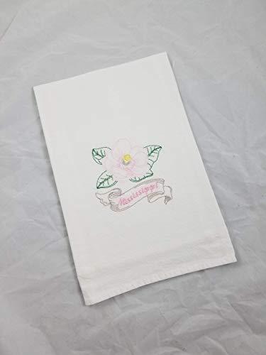 Mississippi Pink Magnolia State Flower Embriodered Cotton Flour Sack Kitchen Tea Towel - Mississippi State Flower Magnolia