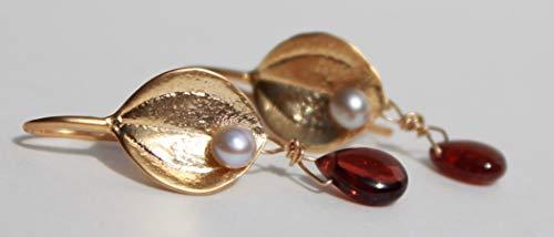 - Golden single leaf earrings with white seed pearl & garnet drops