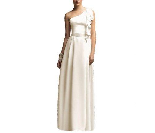 Linie Bodenlang Kleidungen Brautjungfernkleider Satin 1 Dearta Aermellos Damen Schulter Elfenbein Etui qPBwg1Uwx