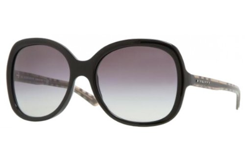 Burberry Women's 4077 Black Frame/Grey Gradient Lens Plastic Sunglasses