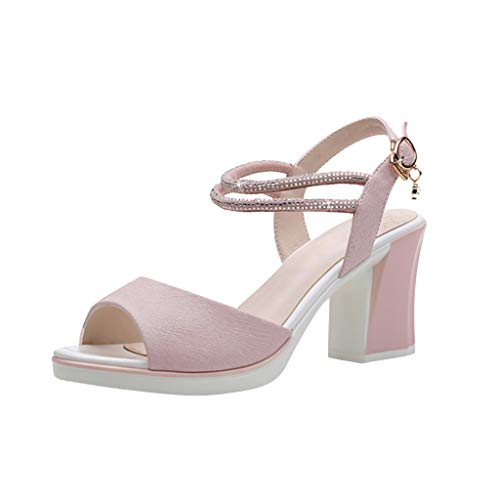 KESEELY Womens Summer Casual Crystal Shoes Fashion Peep Toe High Heel Buckle Sandals ()